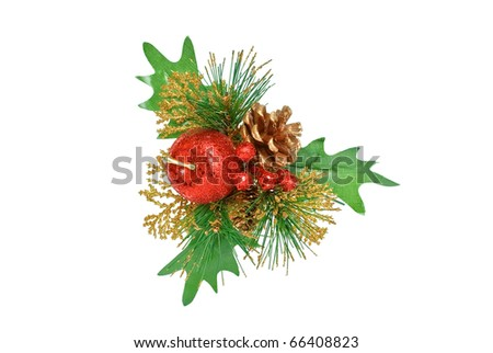 Christmas ornament - branch of green pine tree, red apple, berries, cone and leaves on white - stock photo