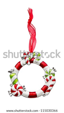 Christmas ornament frame with red ribbon - stock photo