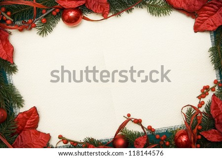 Christmas ornament made of green spruce and red adornment