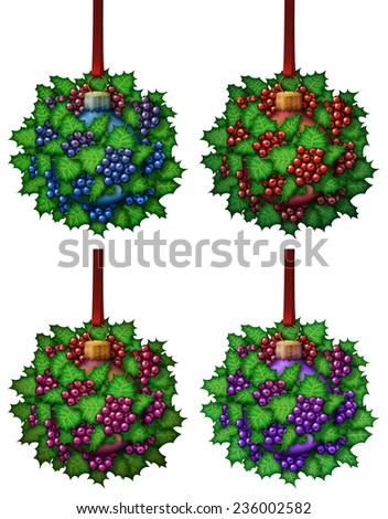 Christmas ornament made out of holly and a glass ball ornament. - stock photo