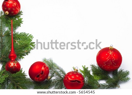Christmas ornament on a christmas tree at christmas isolated on white. Great as a frame. - stock photo