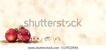 Christmas ornament on bright bokeh background