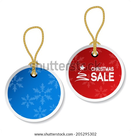 Christmas ornament tags with snowflakes, price-tag - stock photo