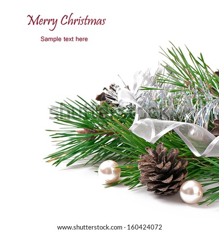 Christmas ornament with cones on white background