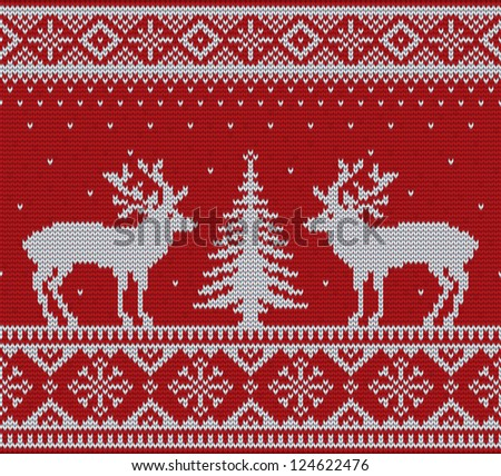 Christmas ornamental embroidery (knitting) with deers and firtree vector background - stock photo