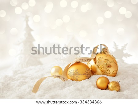 christmas ornaments and snow  - stock photo