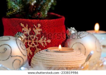 Christmas ornaments festive concept mood close up - stock photo