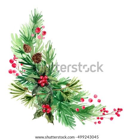 Hand Painted Pine Tree Branch With Christmas Ornament