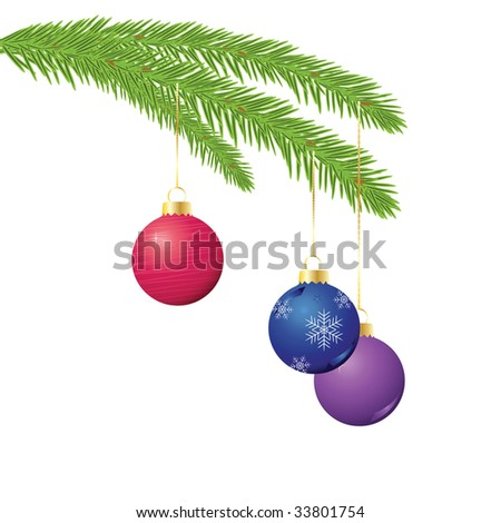 Christmas ornaments hanging from evergreen branch