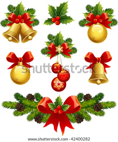 christmas ornaments icons - stock photo