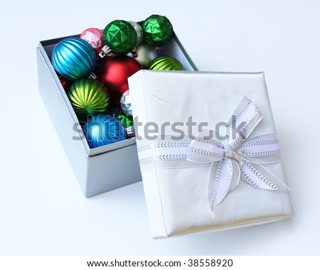 Christmas ornaments in gift box
