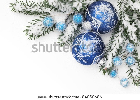Christmas ornaments in the snowflakes. - stock photo