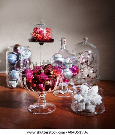 Christmas ornaments in vases on a beautiful concept composition