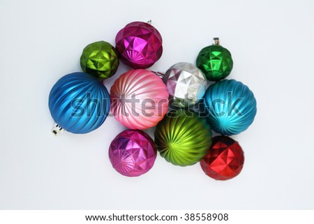 Christmas ornaments isolated on white background - stock photo