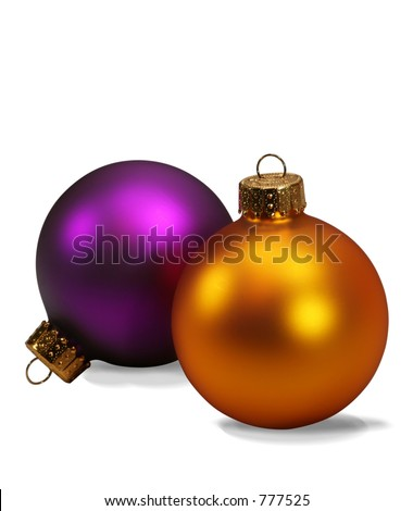 Christmas ornaments isolated on white with clipping path