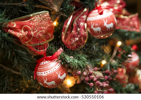 Christmas Ornaments On A Pine Tree