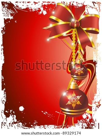 Christmas Ornaments on Red Grunge Background