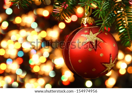 Christmas ornaments on the Christmas tree - stock photo