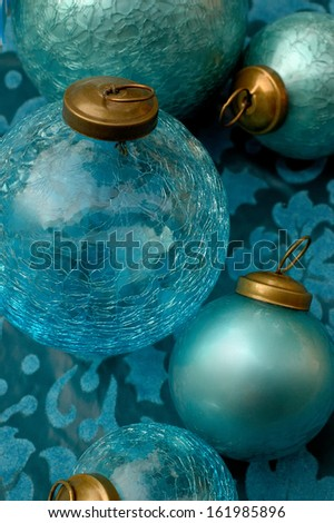 Christmas Ornaments Turquoise - stock photo