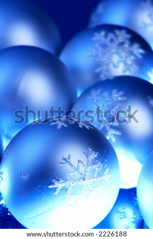 Christmas ornaments with blue shade