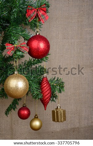 Christmas Ornaments with Copyspace - stock photo