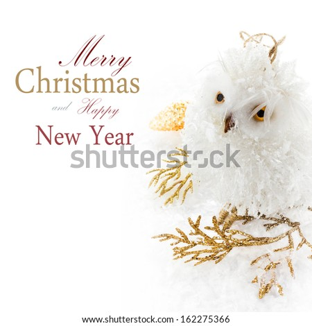Christmas owl and decoration on a white snow  (with easy removable sample text) - stock photo