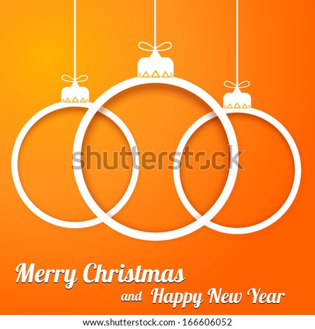 Christmas paper cut balls with text on orange backgraund. Raster copy - stock photo