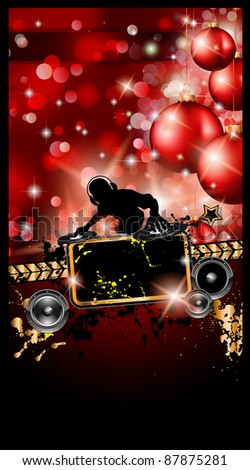 Christmas Party Event Background with Dj Shape and Fantastic Red Baubles and Glitters in the baclground. Ideal for music posters or depliant. - stock photo