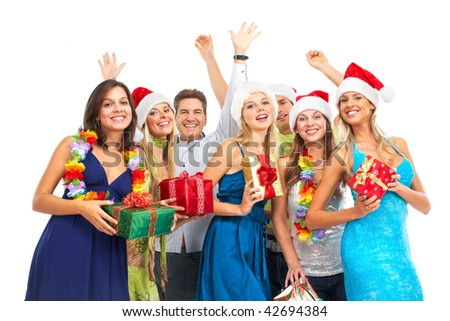 Christmas party. Happy young people. Over white background - stock photo