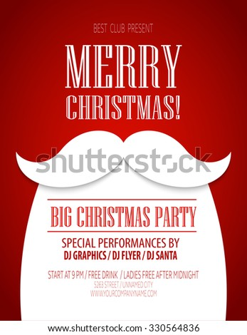 Christmas party poster. illustration  - stock photo