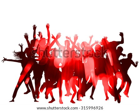 Christmas Party Silhouettes and Bokeh Design with double exposure effect - stock photo