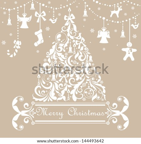 Christmas pastel greeting card. Raster copy of vector image - stock photo