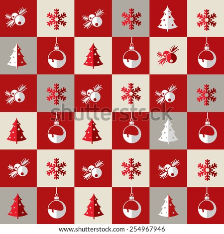 Christmas pattern for gift wrap, postcards or greetings. - stock photo