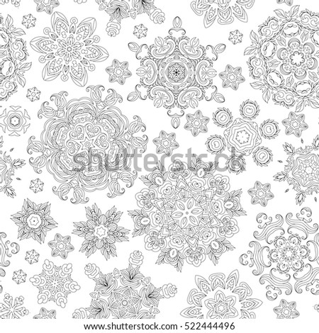 Christmas pattern from snowflakes for a card . Pattern for coloring ...