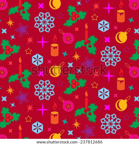 Christmas pattern. Winter theme texture with holly berry. Colored christmas tree decorations on red background.  - stock photo