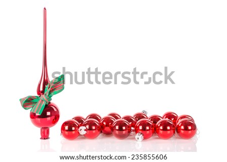 Christmas peak decoration with ribbon and red Christmas balls - stock photo