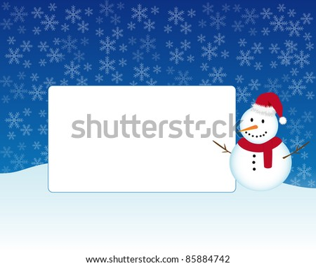 Christmas photo frame with snowman under the snow. Vector available. - stock photo