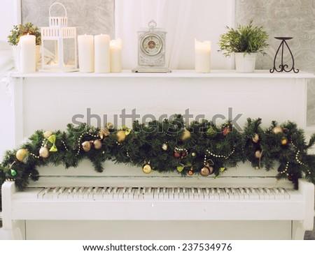 Christmas Piano - stock photo