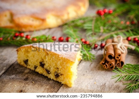 Christmas piece of biscuit cake with cinnamon on a rustic background - stock photo