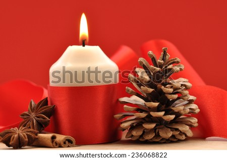 Christmas, Pine cones, Almonds and Candles  - stock photo
