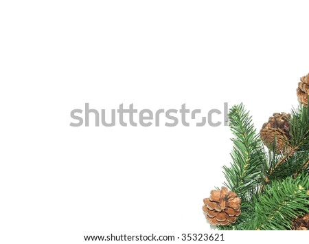 Christmas pine tree decor with space for text - stock photo