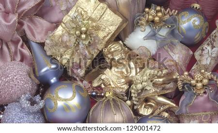 Christmas pink background - stock photo