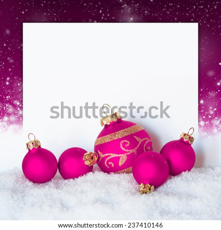 christmas pink decorations on festive background a postal card with copy space - stock photo