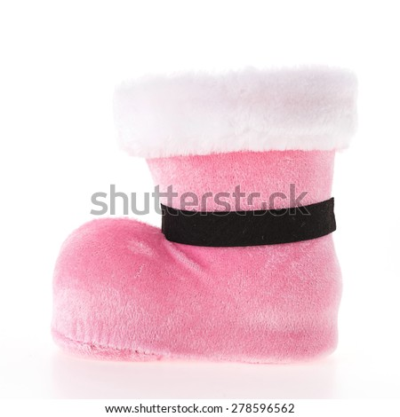 Christmas pink sock isolated on white background - stock photo