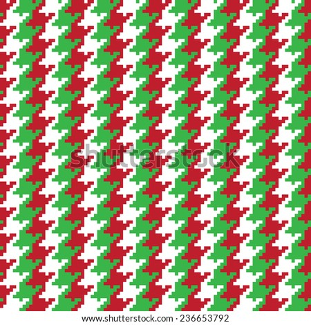 Christmas pixel houndstooth pattern with red, green and white stripes repeats seamlessly.  - stock photo