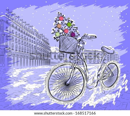Christmas postcard with bicycle with a Christmas tree. Raster version of vector illustration  - stock photo