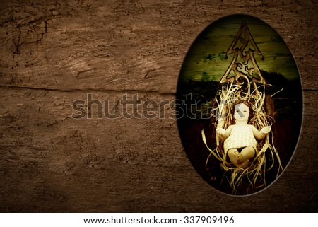 Christmas postcards, Child Jesus and empty space to write message or put photos on rustic background - stock photo