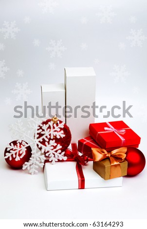 christmas present boxes on white background