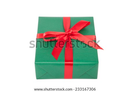 christmas present in green on white background