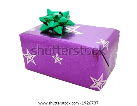 Christmas present or birthday gift with bow, isolated - stock photo